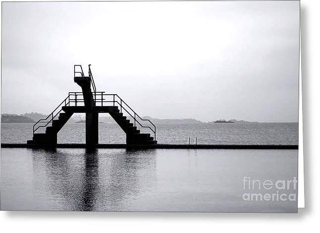 Diving Board Greeting Cards - Pool by the Sea Greeting Card by Olivier Le Queinec