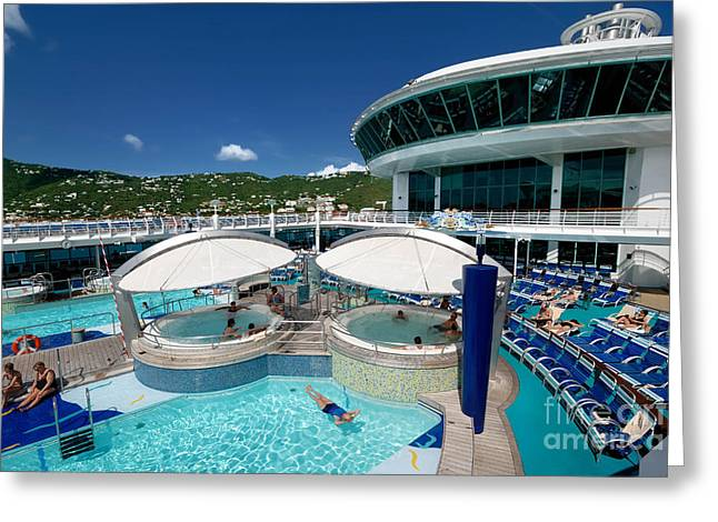 Adventure Of The Seas Greeting Cards - Pool Deck Adventure of the Seas Greeting Card by Amy Cicconi