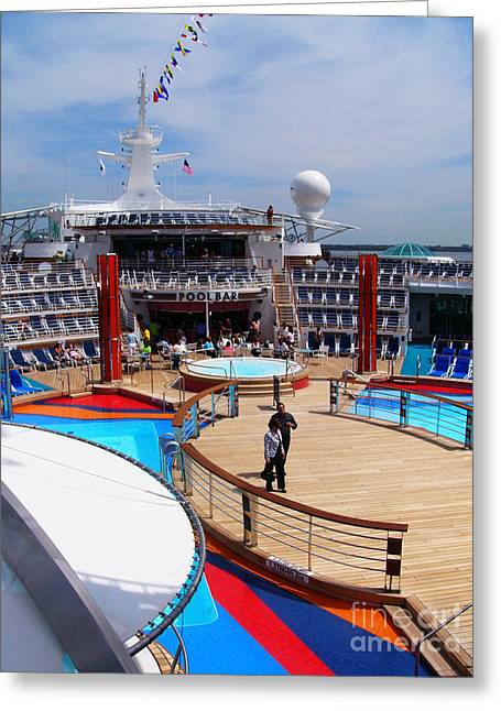 Boat Cruise Greeting Cards - Pool Deck on Liberty of the Seas Cruise Ship Greeting Card by Amy Cicconi