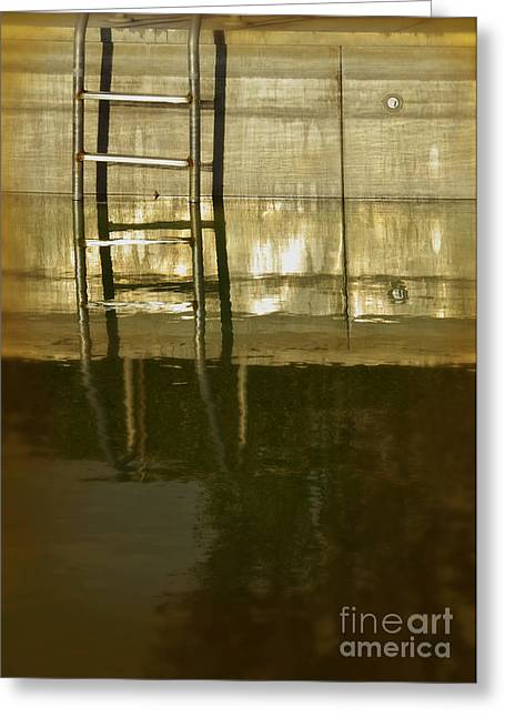Swim Ladder Greeting Cards - Pool Ladder at Sunset Greeting Card by Jill Battaglia