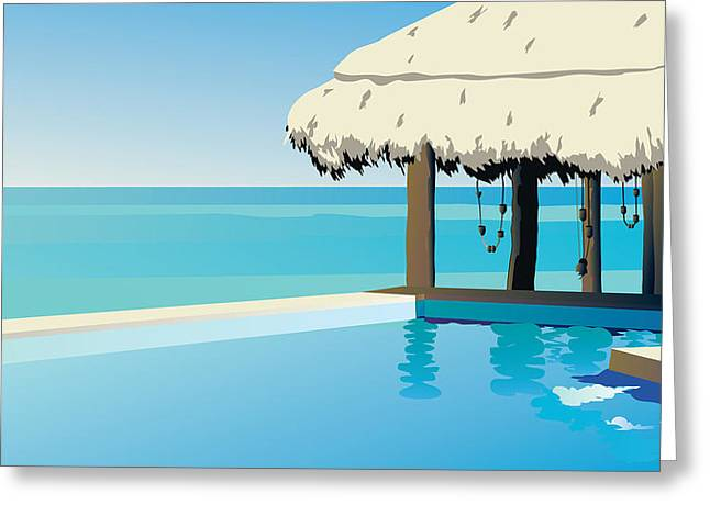 Photo-realism Mixed Media Greeting Cards - Pool On The Ocean Greeting Card by Robert Korhonen