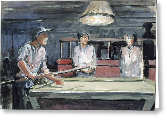 Pool Player Greeting Card by Emily Gibson