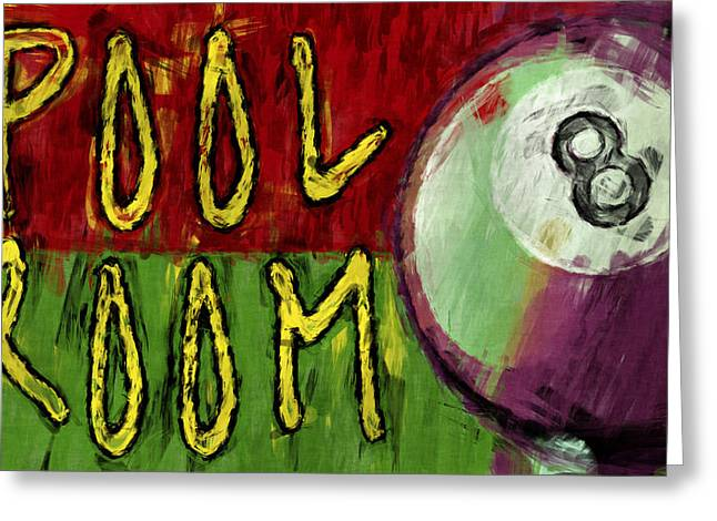 Sports Hall Greeting Cards - Pool Room Sign Abstract Greeting Card by David G Paul