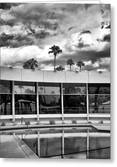 Black Lodge Greeting Cards - POOL STORM Palm Springs Greeting Card by William Dey