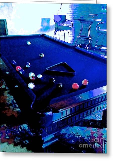 South Beach Framed Prints Greeting Cards - Pool Table in Blue Greeting Card by Diane Phelps