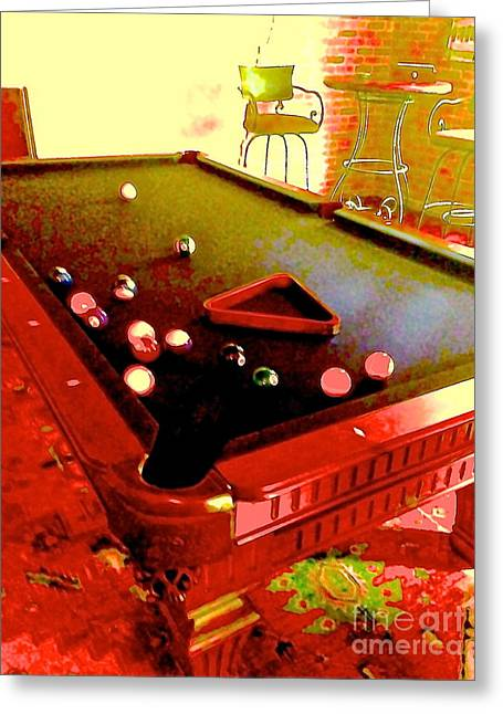 South Beach Framed Prints Greeting Cards - Pool table in red Greeting Card by Diane Phelps