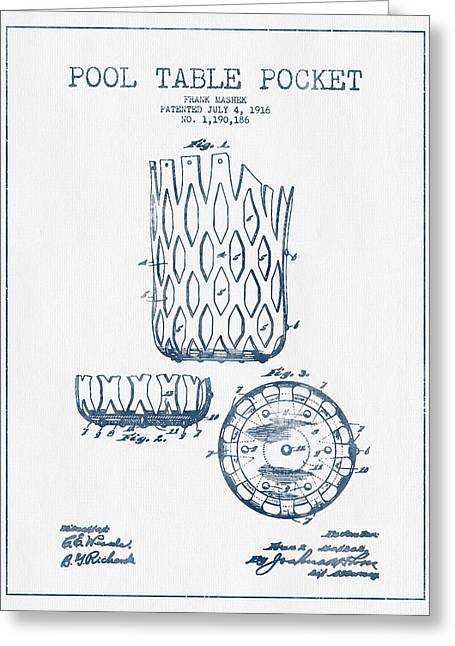 Billiard Greeting Cards - Pool Table Pocket Patent Drawing From 1916  -  Blue Ink Greeting Card by Aged Pixel