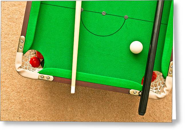 Billiards Greeting Cards - Pool table Greeting Card by Tom Gowanlock