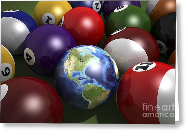 Number Of Objects Digital Art Greeting Cards - Pool Table With Balls And One Greeting Card by Leonello Calvetti