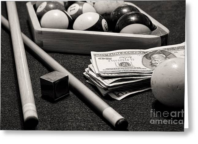 Rack Greeting Cards - Pool - The Hustler -  black and white Greeting Card by Paul Ward