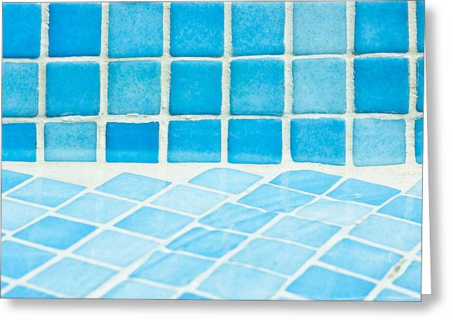 Abstract Waves Greeting Cards - Pool tiles Greeting Card by Tom Gowanlock