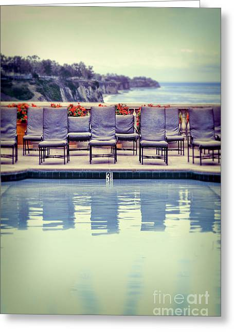 Empty Pool Greeting Cards - Pool With Views of the Ocean Greeting Card by Jill Battaglia