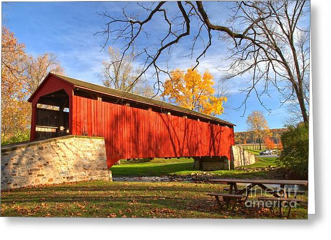 Poole Forge Covered Bridge - Lancaster County Greeting Card by Adam Jewell