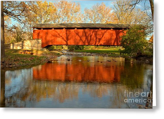 Conestoga Greeting Cards - Poole Forge Covered Bridge Mirror Greeting Card by Adam Jewell