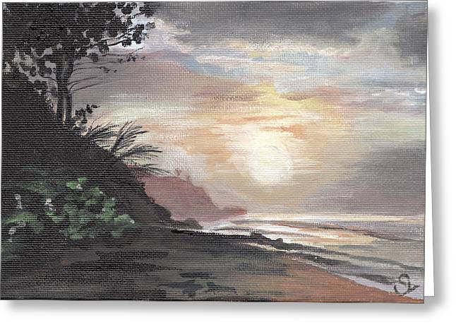 Puerto Rico Greeting Cards - Pools Beach Sunset Greeting Card by Sarah Lynch