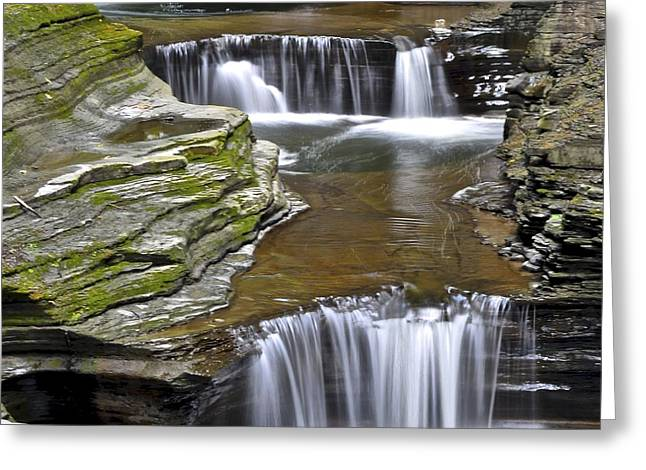 Water Falling Down Rocks Greeting Cards - Pools of Green Greeting Card by Frozen in Time Fine Art Photography