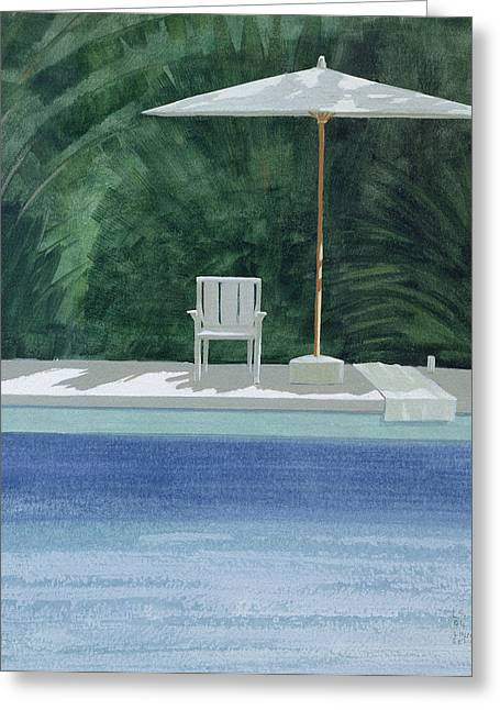 Empty Pool Greeting Cards - Poolside, 1994 Acrylic On Paper Greeting Card by Lincoln Seligman