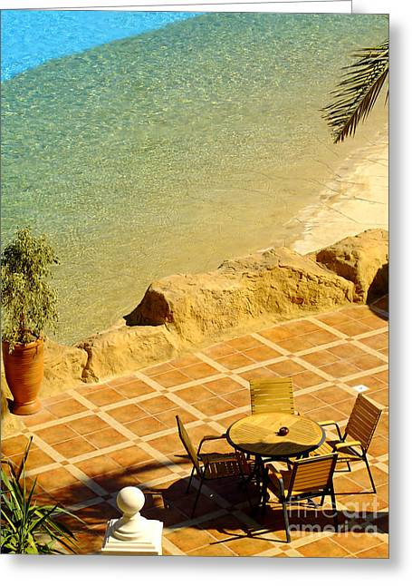 Warm Summer Greeting Cards - Poolside dining Greeting Card by Antony McAulay