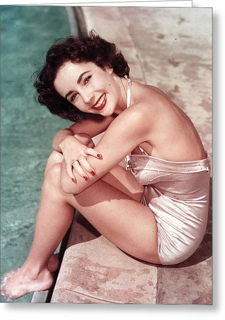 Swimsuit Photo Greeting Cards - Poolside Elizabeth Taylor Greeting Card by Nomad Art And  Design