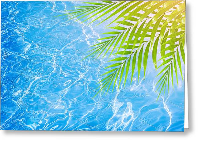 Poolside Greeting Cards - Poolside on tropical beach Greeting Card by Anna Omelchenko