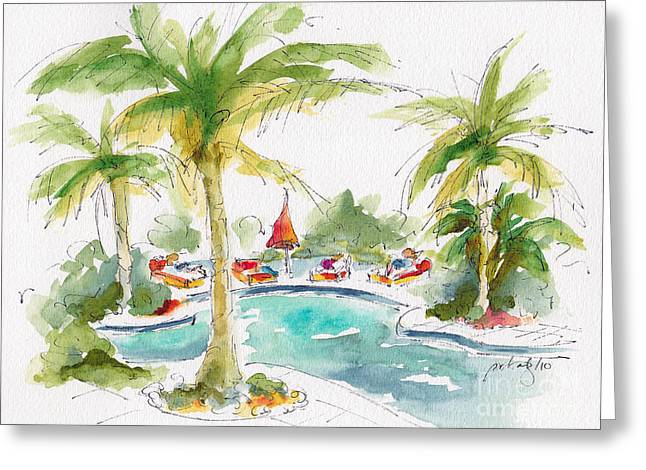 Lounge Paintings Greeting Cards - Poolside Greeting Card by Pat Katz