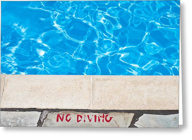 Legislation Greeting Cards - Poolside warming Greeting Card by Tom Gowanlock