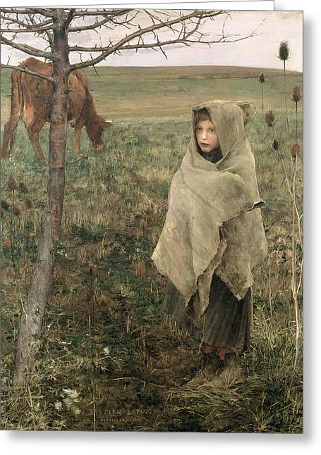 Homeless Greeting Cards - Poor Fauvette, 1881 Greeting Card by Jules Bastien-Lepage