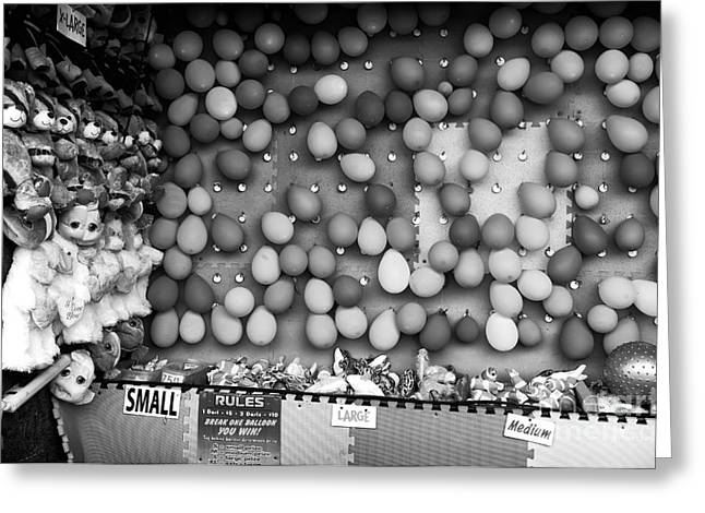 Seaside Heights Greeting Cards - Pop Any Balloon mono Greeting Card by John Rizzuto