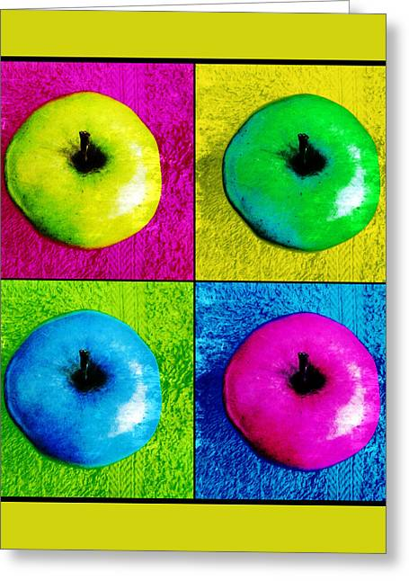 Pop Art Apples Greeting Card by Shawna Rowe