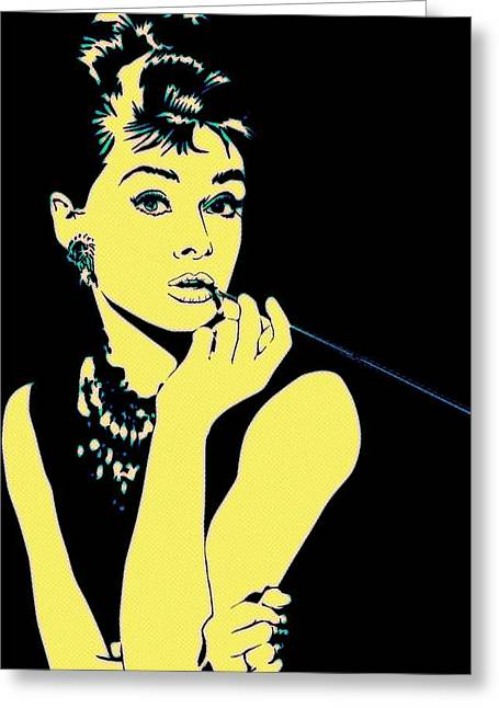 Famous Silhouettes Greeting Cards - Pop Art Audrey Greeting Card by Florian Rodarte