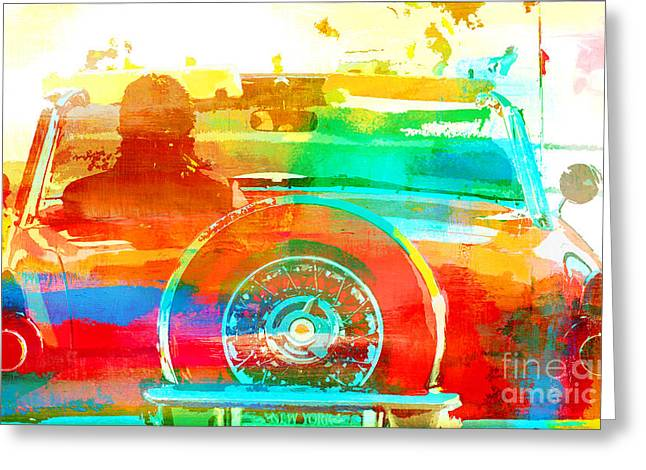 Juvenile Wall Decor Mixed Media Greeting Cards - Red Convertible - Pop Art Car Greeting Card by Anahi DeCanio - ArtyZen Studios