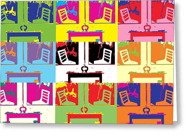 Test Pattern Greeting Cards - Pop-Art chairs and tables Greeting Card by Toppart Sweden