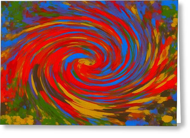 Hues Of Purple Greeting Cards - Pop Art Color Swirl Greeting Card by Dan Sproul