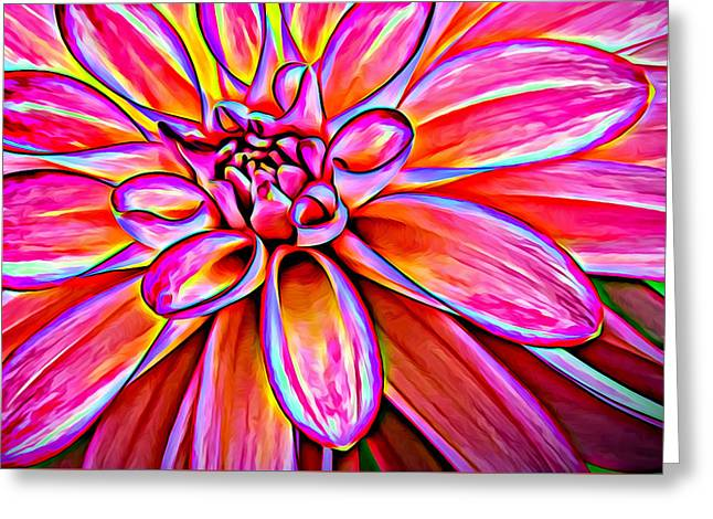 Recently Sold -  - Floral Digital Art Digital Art Greeting Cards - Pop Art Dahlia Greeting Card by Mary Jo Allen