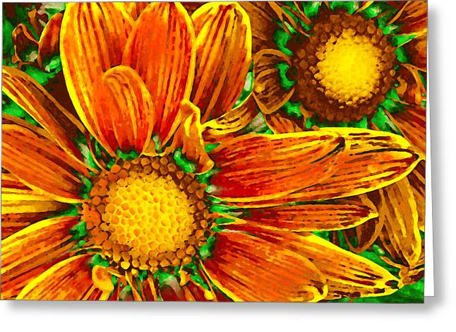 Dinning Room Greeting Cards - Pop Art Daisies 8 Greeting Card by Amy Vangsgard