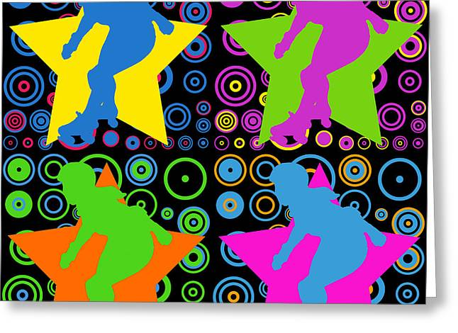 Roller Skates Digital Art Greeting Cards - Pop Art Derby Girl Greeting Card by David G Paul