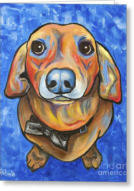 Doxie Greeting Cards - Pop Art Doxie Greeting Card by Robin Wiesneth
