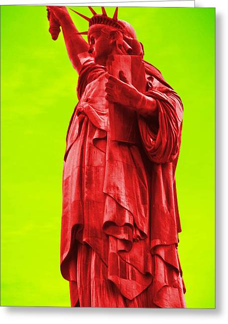 Statue Of Liberty Digital Art Greeting Cards - PoP ArT LiBeRtY Greeting Card by Mike McGlothlen