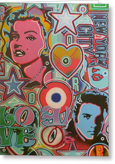 Elvis Stencil Greeting Cards - Pop Art Mix Number 1 Greeting Card by Leon Keay