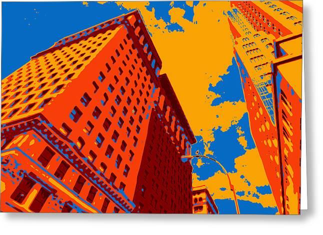 Times Square Digital Greeting Cards - Pop Art NYC Greeting Card by David G Paul
