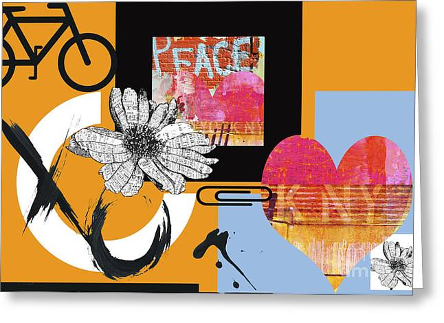 Romance Mixed Media Greeting Cards - Pop Art Peace and Love NY Urban Collage Greeting Card by Anahi Decanio