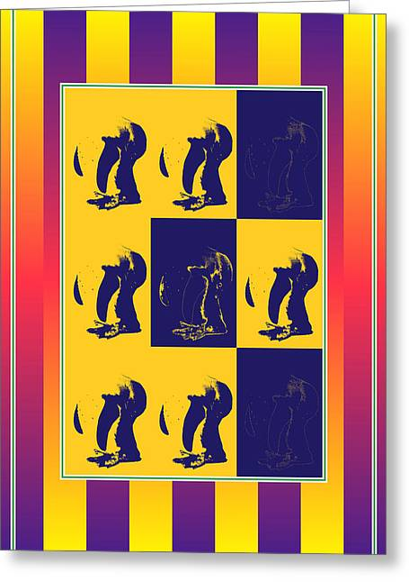 Visual Quality Mixed Media Greeting Cards - Pop Art Penguin bends down Greeting Card by Toppart Sweden