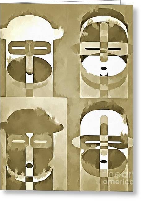 Pop Photographs Greeting Cards - Pop Art People Monochromatic Four Greeting Card by Edward Fielding