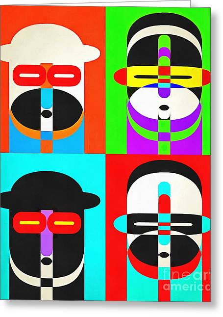 Pop Photographs Greeting Cards - Pop Art People Quattro Greeting Card by Edward Fielding