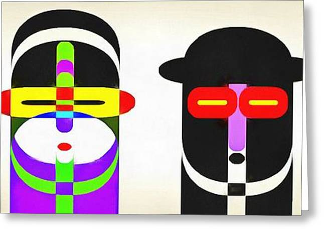 Row Greeting Cards - Pop Art People Row White Background Greeting Card by Edward Fielding
