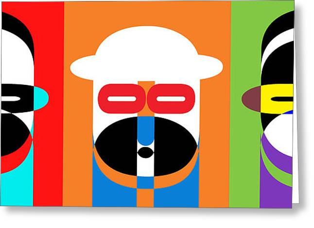 People Greeting Cards - Pop Art People Trio Greeting Card by Edward Fielding