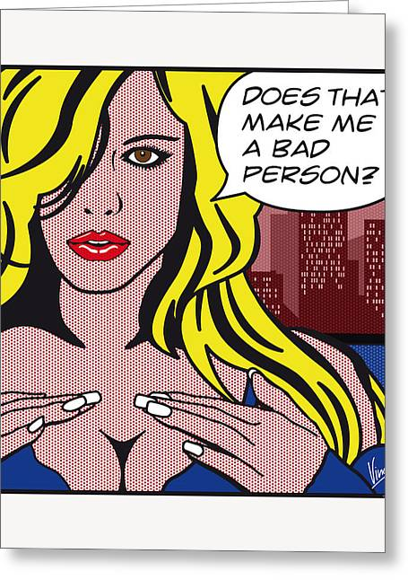 Black Top Greeting Cards - Pop Art Porn Stars - Lindsay Marie Greeting Card by Chungkong Art