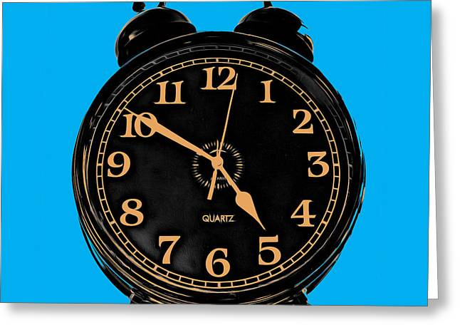 Pop Photographs Greeting Cards - Pop Art Retro Alarm Clock Blue Greeting Card by Edward Fielding