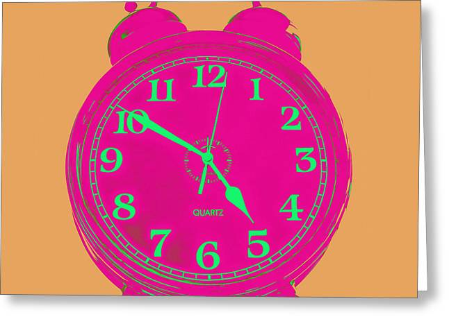 Pop Photographs Greeting Cards - Pop Art Retro Alarm Clock Orange Greeting Card by Edward Fielding