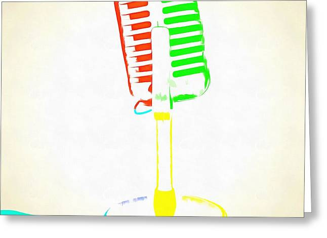 Bold Style Greeting Cards - Pop Art Retro Microphone Greeting Card by Edward Fielding